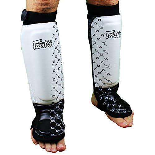 FAIRTEX SP6 WHITE NEOPRENE SHIN PADS GUARDS FOOT PROTECTORS MUAY THAI BOXING MMA