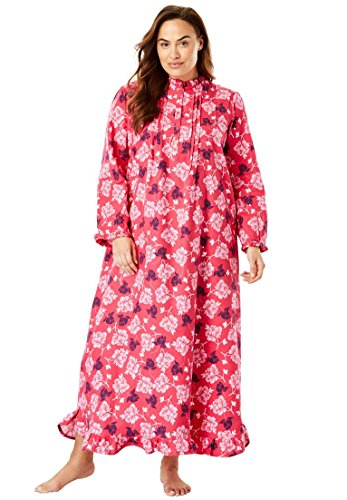 Only Necessities Women's Plus Size Long Flannel Nightgown - Pink Burst Floral, 1X