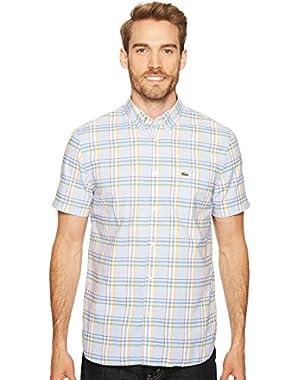 Men's Short Sleeve Oxford Medium Plaid Woven Shirt