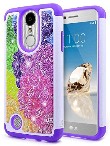 Rubberized Purple Rhinestones (LG Risio 2 Case (M154), LG Rebel 3 LTE (L157BL), LG Rebel 2 (4G LTE), LG Phoenix 3 (M150), LG Fortune (M153), LG K4 2017 (L58VL),NageBee Hybrid Protective Cover [Studded Rhinestone Bling] Case -Purple)