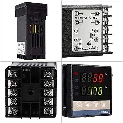 Digitaler LCD-PID-Temperaturregler REX-C100 mit K Thermoelement SSR Ausgang