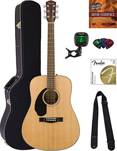 Fender CD-60S Dreadnought Acoustic Guitar – Left Handed, Natural Bundle with Hard Case, Tuner, Strap, Strings, Picks, Austin Bazaar Instructional DVD, and Polishing Cloth