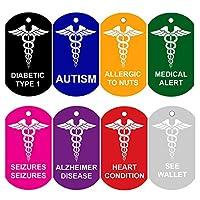 CNATTAGS Set of 2 Medical Alert ID Tags | Personalized FRONT AND BACK | Medical Alert | Medical Pet Tag Dog Tag