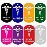 2 Medical Alert ID Tags | Personalized FRONT AND BACK | Medical Alert | Medical Pet Tag Dog Tag by CNATTAGS (Red)