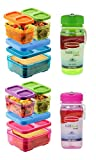rubbermaid bread container - Rubbermaid Lunch Blox and Refill Reuse Bottles Set - 2 Sandwich Kits, Pink/Purple/Green & Blue/Orange/Green with 14oz Refill Reuse Bottles (Pink & Green)