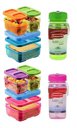 Rubbermaid Lunch Blox and Refill Reuse Bottles Set - 2 Sandwich Kits, Pink/Purple/Green & Blue/Orange/Green with 14oz Refill Reuse Bottles (Pink & Green)