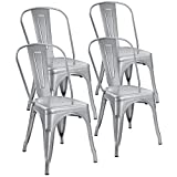 Devoko Metal Indoor-Outdoor Chair Modern Style Kitchen Dining Chairs Stackable Side Chairs with Back Set of 4 (Silver) For Sale