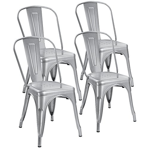 Devoko Metal Indoor-Outdoor Chair Modern Style Kitchen Dining Chairs Stackable Side Chairs with Back Set of 4 ()