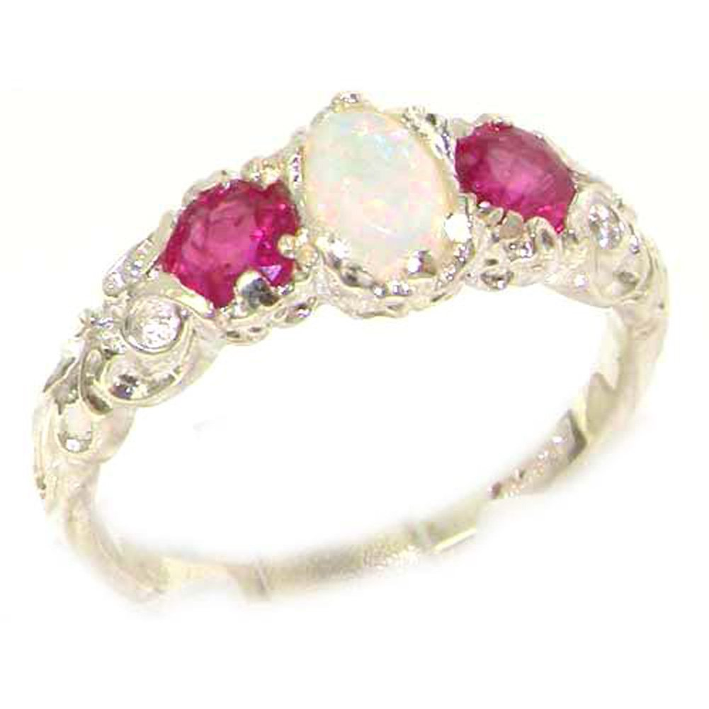 925 Sterling Silver Natural Opal and Ruby Womens Promise Ring - Size 6.5