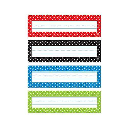 Trend Enterprises Polka Dots Desk Toppers Name Plates (32 Piece), 2-7/8