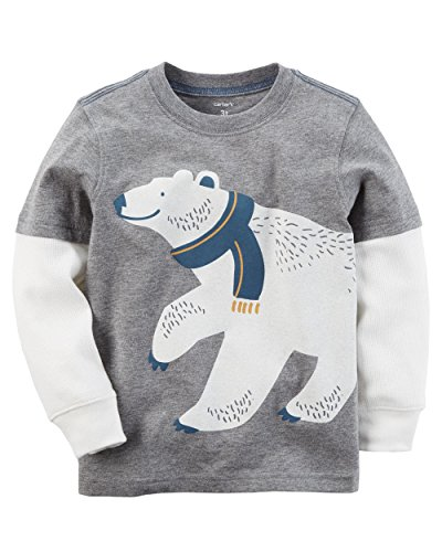 Carters Boys Layered-Look Long Sleeve Tee (Toddler 5, Polar Bear) Bears Long Sleeve Layered Tee