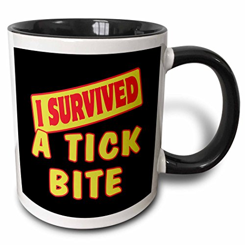 3dRose Dooni Designs Survive Sayings – I Survived A Tick Bite Survial Pride And Humor Design – 11oz Two-Tone Black Mug (mug_117713_4)