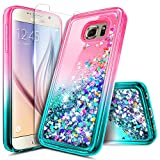 Galaxy S6 Edge Plus Case w/[Screen Protector Premium Clear], NageBee Glitter Liquid Quicksand Waterfall Flowing Sparkle Bling Girls Cute Case for Samsung Galaxy S6 Edge Plus -Pink/Aqua