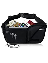 MYCARBON Money Belt for Travel,Secure Fanny Pack with RFID Blocking,Waterproof Passport Holder Waist pack,Anti Theft RFID protection Travel wallet,Lightweight Money Pouch for Women&Men-2 Main Pockets