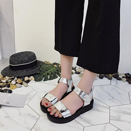 Elevin (tm) Mujeres Moda De Verano Roman Peep Toe Chancletas Plataforma Sandalia Zapatos De Calzado Plata