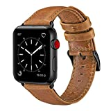OUHENG Compatible with Apple Watch Band 42mm 44mm, Genuine Leather Band Replacement Compatible with Apple Watch Series 4 Series 3 Series 2 Series 1 (42mm 44mm) Sport and Edition, Retro Brown