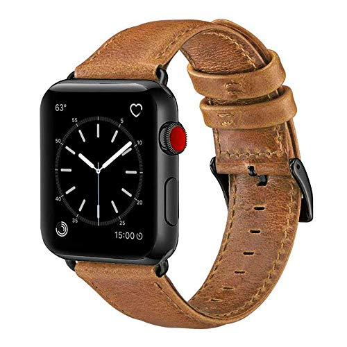 (OUHENG Compatible with Apple Watch Band 42mm 44mm, Genuine Leather Band Replacement Compatible with Apple Watch Series 4 Series 3 Series 2 Series 1 (42mm 44mm) Sport and Edition, Retro Brown)