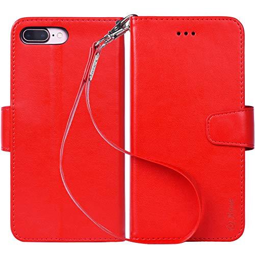 中庭順応性持参iPhone 8 Plus ケース 手帳型 iPhone 7 Plus ケース ワイヤレス充電対応 スマホケース 横置き機能 Arae カードポケット付き アイフォン8 7 プラス 用 財布型 ケース カバー(ダークレッド)