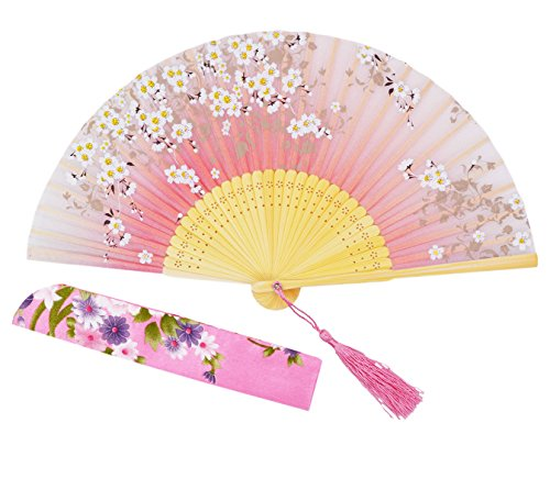 meifan Chinese/Japanese Handmade Handheld Folding Fan (Pink)]()