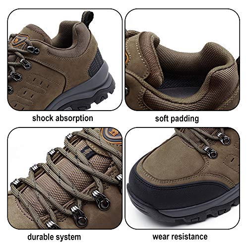aaa5967f3a6 CAMEL CROWN Mens Hiking Shoes Low Cut Boots Leather Walking Shoes for  Outdoor Trekking Training Casual