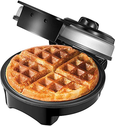 AICOOK Waffle Maker Iron, Belgian Waffle Mini Round Irons, Adjustable Temperature Dial, Mess Free Moat, Nonstick Plates…
