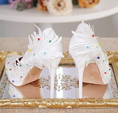 Raso Raso Verde 4 con Bianco Bianco Pompe Matrimonio da da in Fodera Colore Dimensione 5 Esterno per Stile ZHRUI Donna da Sposa Foglia FTxqBx8
