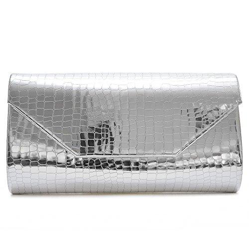 Vain Secrets Damen Abendtasche Clutch in Lack PU Leder Look in vielen Farben Silber AxnVDJ