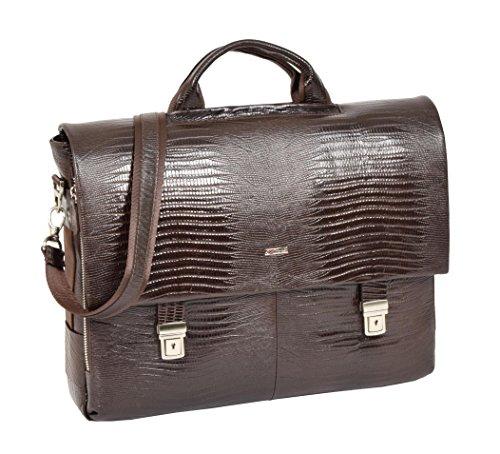 Riley Satchel - Real Leather Snake Print Briefcase Satchel Cross Body Shoulder Bag Riley Brown