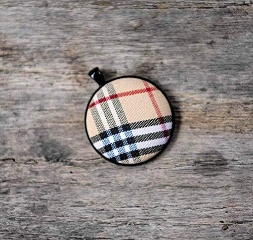 Burberry plaid pendant necklace, long layering necklace, bridesmaid gift, gift for her, jewelry gift, gift for women, long necklace, simple necklace, Burberry plaid jewelry from The Modern Haberdashery