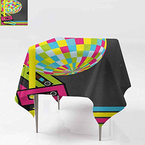 AndyTours Waterproof Table Cover,Popstar Party,Retro Party Theme Disco Ball 80s Style Audio Cassette Tapes Colorful Stripes,Party Decorations Table Cover Cloth,60x60 Inch Multicolor (Best Cassette For 52 36)