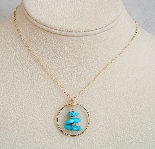 Blue Turquoise Nugget Round Circle Frame Jewelry Pendant 20 Inch 14K Gold Filled Necklace