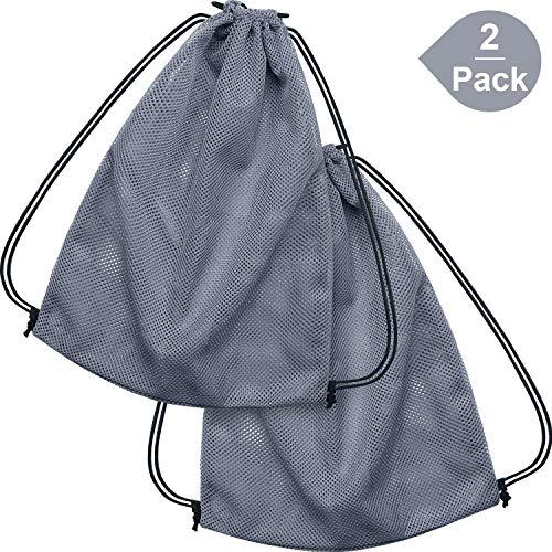 Mesh Athletic Backpack Bag - Mesh Drawstring Backpack Bag Mesh Equipment Bag Black String Bag Multi Functional Bag with Drawstring Shoulder Straps for Sport, Gym, Training, Swimming, Beach, Diving (2 Pack, Gray)