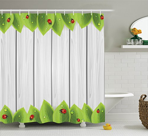 Ambesonne Ladybugs Decorations Collection, Foliage on Wooden Background with Ladybugs and Drops Countryside Illustration Image, Polyester Fabric Bathroom Shower Curtain, 75 Inches Long, Gray Red (Lady Image)