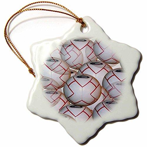 3dRose orn_907_1 Soccer Balls Ball Porcelain Snowflake Ornament, 3-Inch by 3dRose