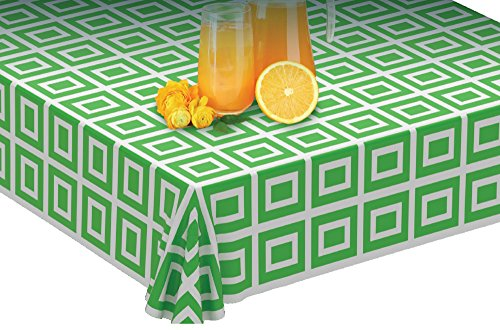 Clearly Elegant Picnic/Party Plastic Disposable Tablecloth Roll Green Design,Picnic Colored Table Covers On a Roll with Self Cutter Box,Cut Tablecloth to Your Own Table Size,Indoor/Outdoor