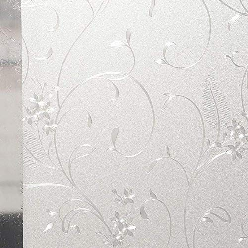 LYCSIX66 No Glue Privacy Window Film Static Cling Glass Films Vinyl Decorative Decals for Office Home Bedroom Living Room 17.7'' x 78.7''