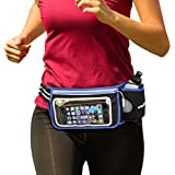 silexfit Hydration Belt for Running, Walking, Hiking or Marathons, Running Fuel Belt with One Water Bottle, 10 Oz, Waterproof Runners Fanny Pack with Touch Screen Pocket, Reflective Waist Pack by