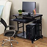 TANGKULA Computer Desk Small Rolling Study Table Compact Home Office Furniture Laptop Workstation with Pull Out Keyboard Tray, Additional Bottom Shelf & 4 Smooth-Rolling Wheels, Black