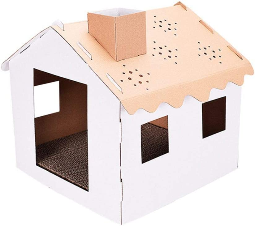 Inicio Gato Mascota Raspador Cartón Casa Torre Condo Apartamento Linda Casa Plegable Casa de Papel Corrugado Jaula (13.39 * 18.90 * 16.93 Pulgadas)