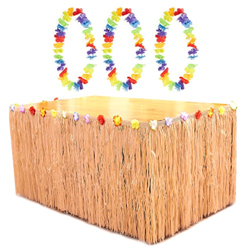 Beige Luau Table Skirt - Hawaiian Grass Table Skirt with 3 Leis and 6 Metal Clamps, Table Tutu, Tropical Party Table Decoration, 8.6 x 2.35 (Tiki Table Decoration Package)
