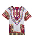 Lofbaz Traditional African Print Unisex Dashiki Size L White and Royal Pink