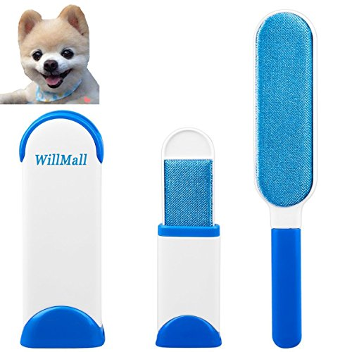 Pet Fur & Hair Remover for Dog Cat with Self-Cleaning Base by WillMall – Double-Sided Brush Pets Removes Hair from Clothes & Furniture Travel Size-(1 Pack)