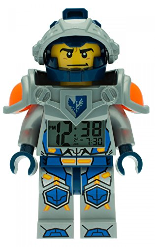 LEGO Nexo Knights Clay Kids Minifigure Light Up Alarm Clock | blue/gray | plastic | 9.5 inches tall | LCD display | boy girl | official