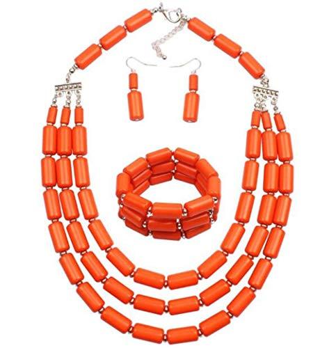 Lanue Fashion Handmade Bead Multilayer Statement Necklace Bracelet Earrings Jewelry Set (Orange) -