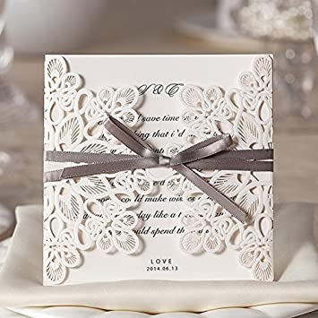 Amazon wishmade 50x square laser cut wedding invitations cards wishmade 50x square laser cut wedding invitations cards kits with bowknot hollow cardstock for marriage engagement stopboris Image collections