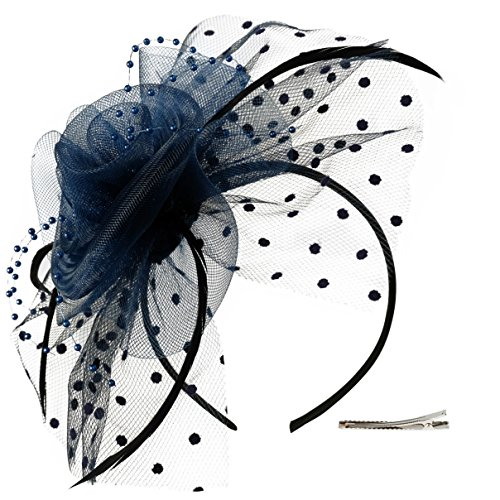 Fascinators Hat for Women Tea Party Headband Kentucky Derby Wedding Cocktail Flower Mesh Feathers Hair Clip (3-Navy) -