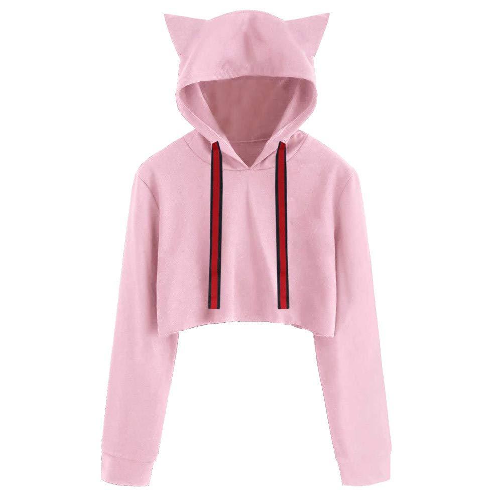Molyveva Women Cat Short Sweatshirt Hooded Pullover Long Sleeve Casual Blouse