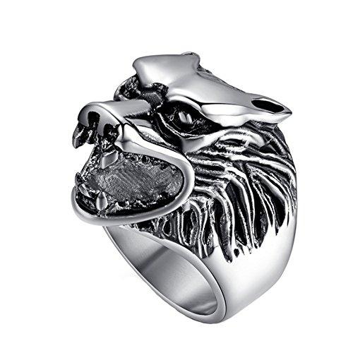Yuuhii ATR anello punk rock Wolf Head anelli, gotico tribale vintage in acciaio INOX lucidato argento H172101014