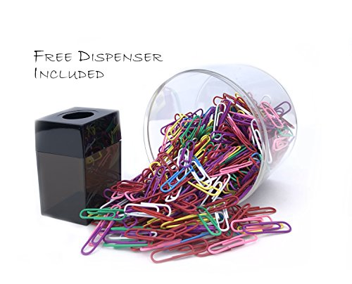 (Paper Clips, Smooth - Size No. 1 - Assorted Colors - 500 Pcs - Free Magnetic Paper Clip Dispenser Included)
