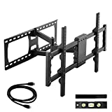 Happyjoy TV Wall Mount Bracket Full Motion Single Articulating Arm for most 32-65 Inch LED, LCD, OLED, Flat Screen,Plasma TVs up to VESA 600x400mm with Tilt, Swivel Includes HDMI Cable